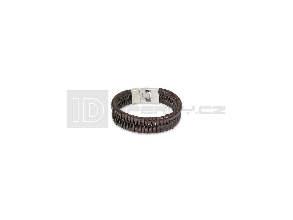 Kožený náramek SPIKES SL0039-BRN
