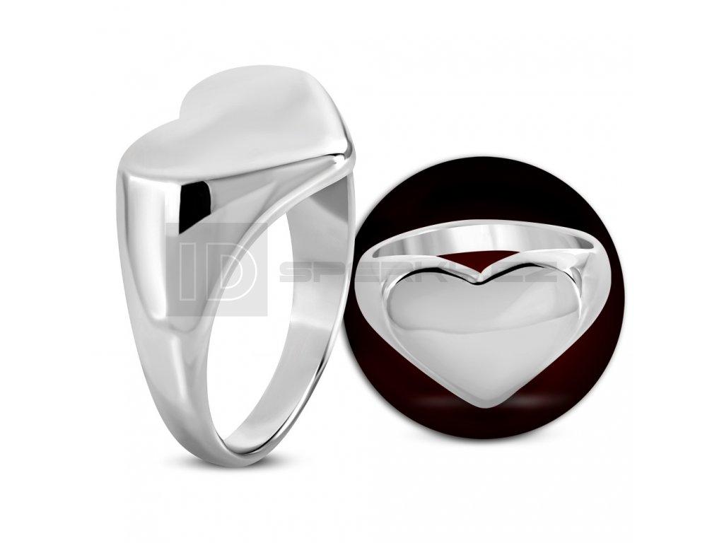 Prsten s plochou srdce vel.56