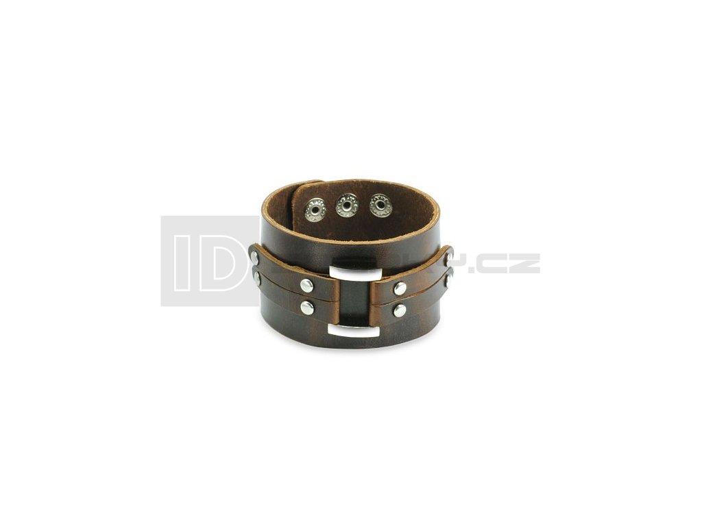 Kožený náramek SPIKES SL0091-BRN