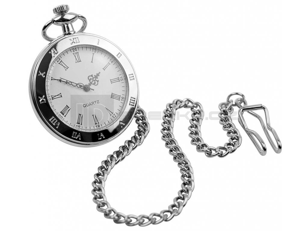 QUARTZ ROMAN OPEN FRONT SILVER POCKET WATCH