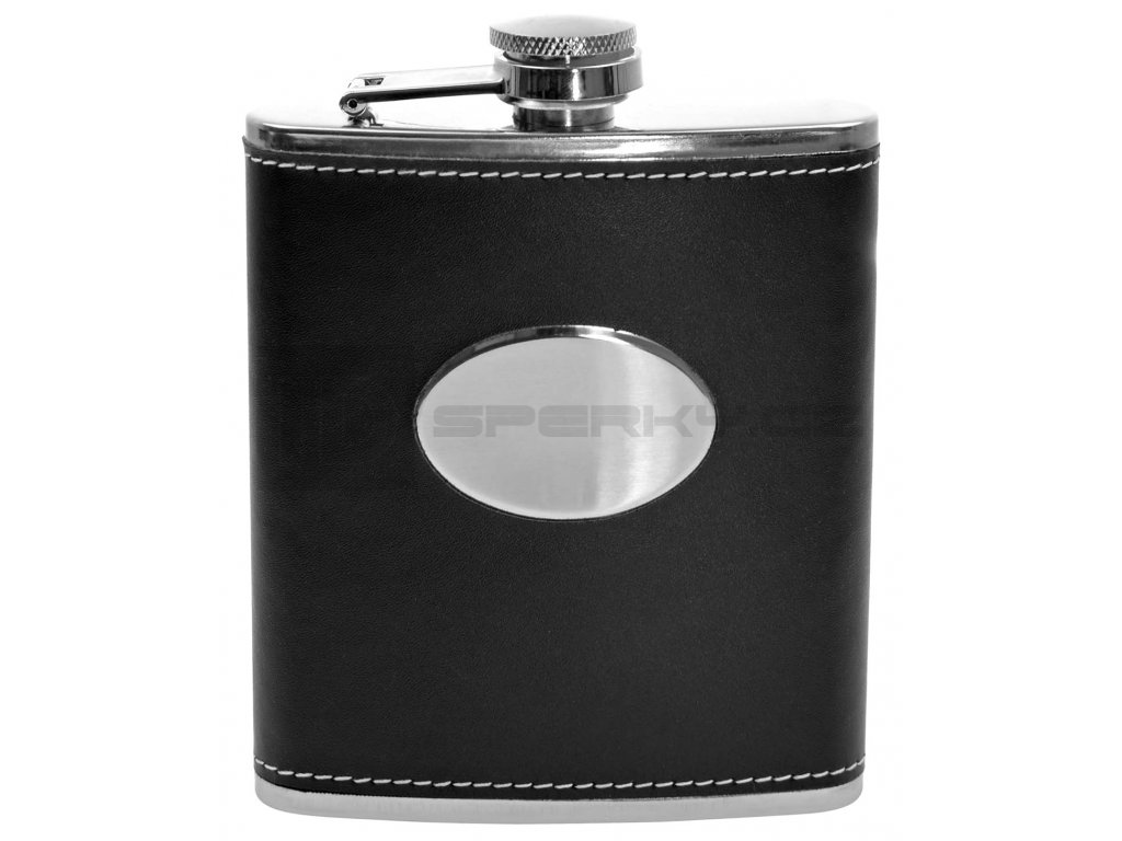 7oz Black PU Leather with Oval Plate