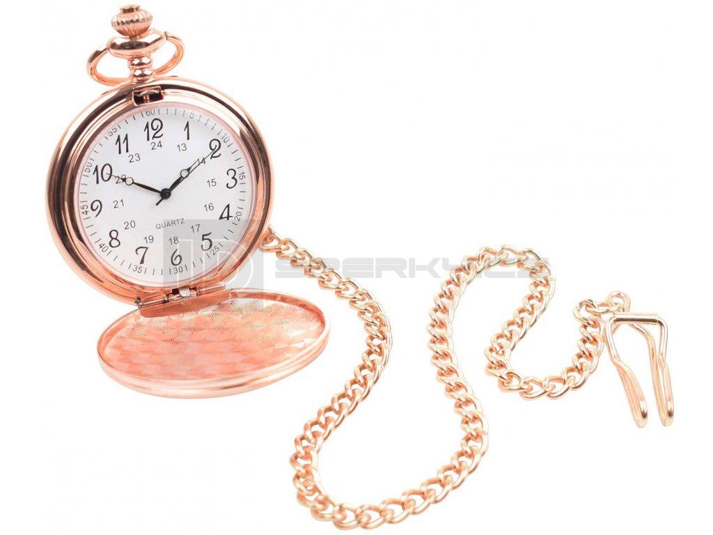 QUARTZ ARABIC ROSE GOLD POCKET WATCH Open