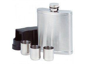 WIA1027b 7oz Stainless Steel Hip Flask with 3 Cups in Cover
