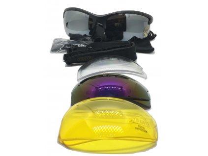 Střelecké balistické sluneční brýle s výměnnými skly