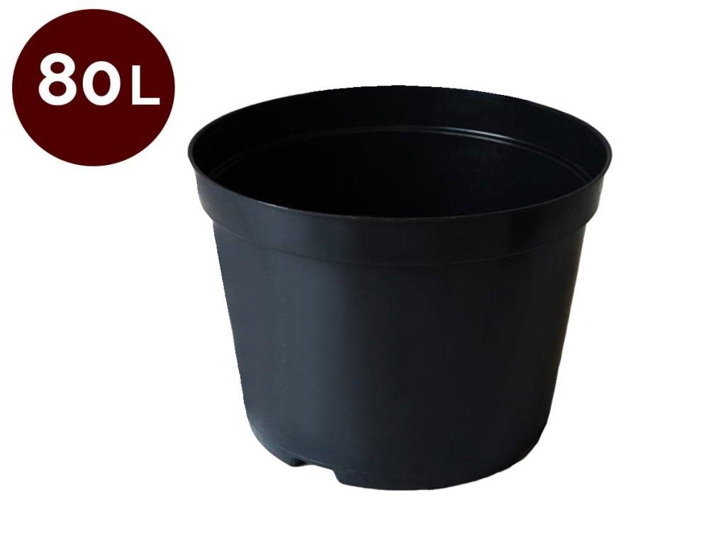 Květník kulatý 56 cm - 80 L černá