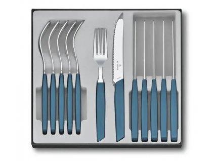 Sada příborů Swiss Modern 12 ks modrá