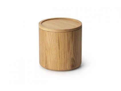 Dóza kulatá z dubového dřeva střední