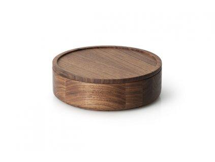 Dóza kulatá z ořechového dřeva nízká