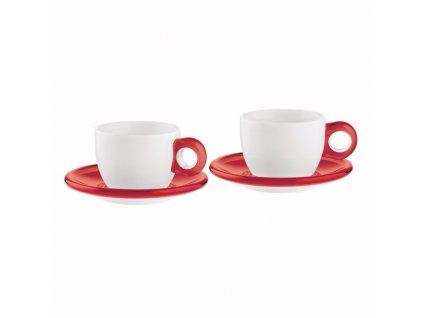 Sada 2 šálků s podšálky na cappuccino GOCCE červená