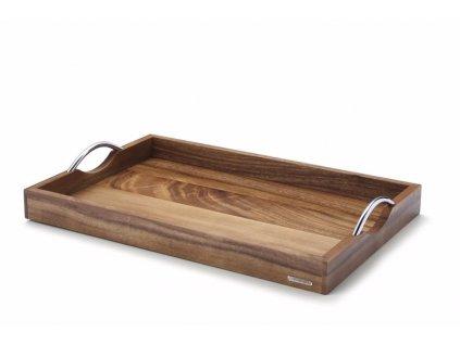 Dřevěný podnos s kovovými úchyty