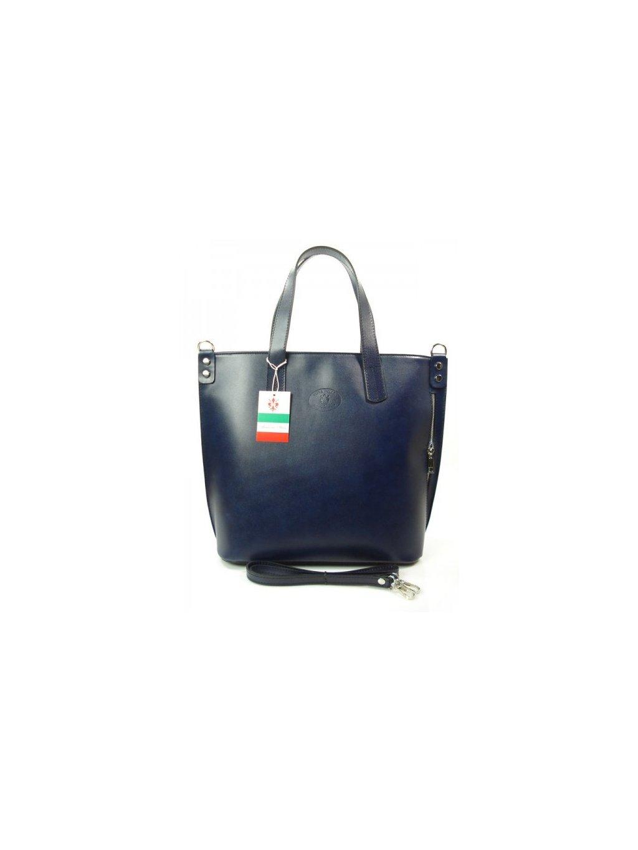 Kožená shopper bag kabelka Vera Pelle 1777 modrá