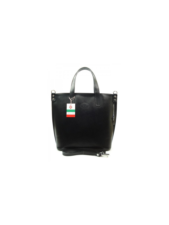 Kožená shopper bag kabelka Vera Pelle 1777 černá