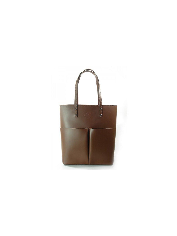 Kožená shopper bag kabelka Vera Pelle 515X hnědá