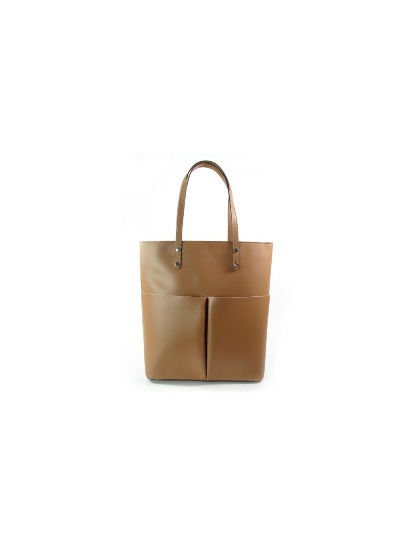 Kožená shopper bag kabelka Vera Pelle 515X camel