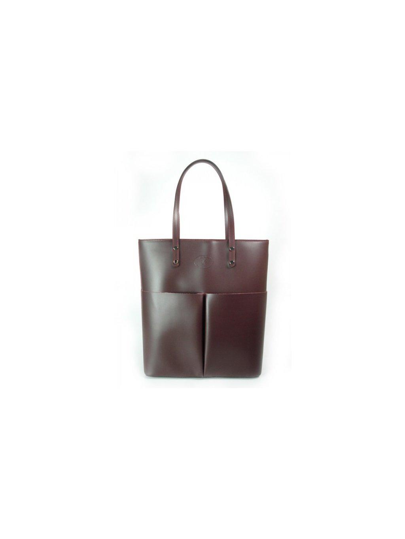 Kožená shopper bag kabelka Vera Pelle 515X vínová