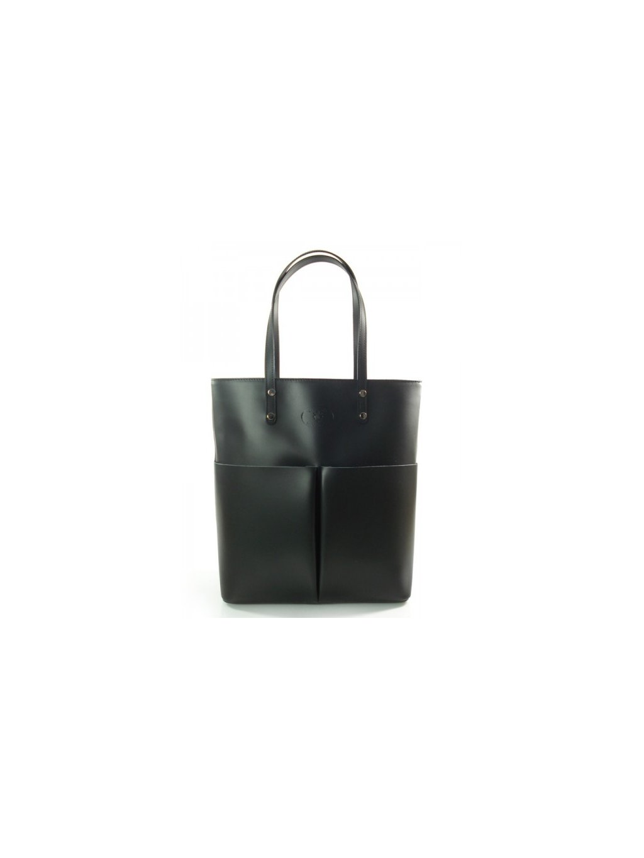 Kožená shopper bag kabelka Vera Pelle 515X černá