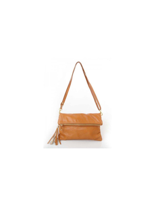 Kožená kabelka přes rameno Vera Pelle LP111 camel
