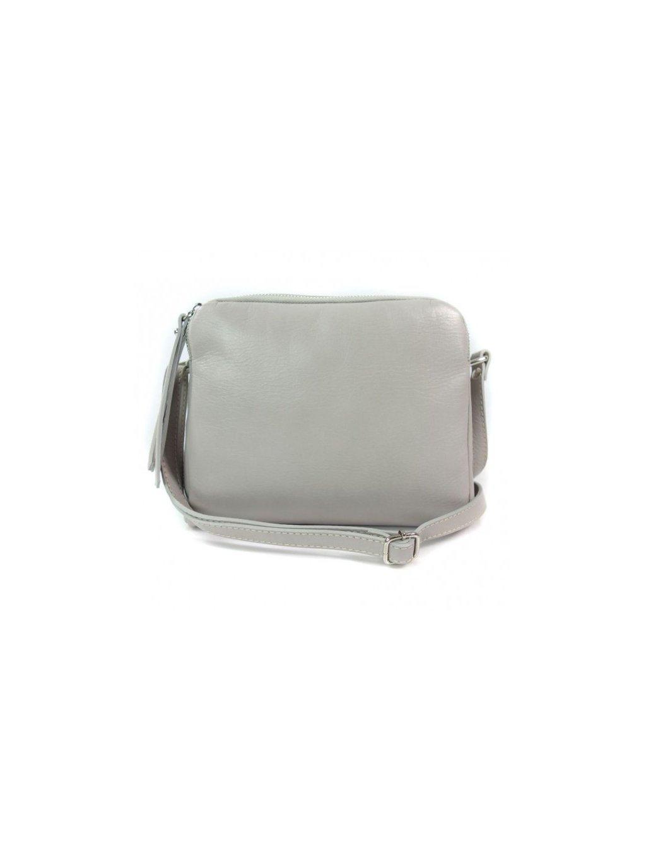 Kožená crossbody kabelka Vera Pelle VP333BS světle šedá