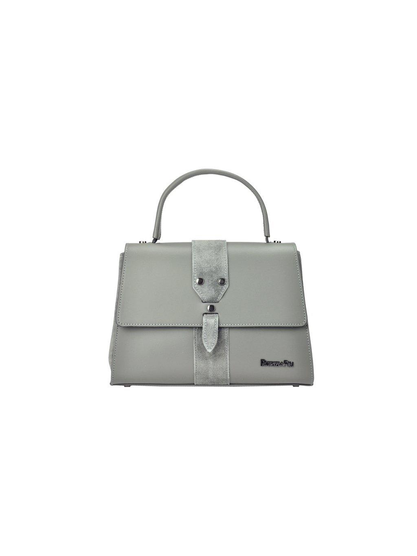 Kožená kufříková kabelka Patrizia Piu 01-037 šedá