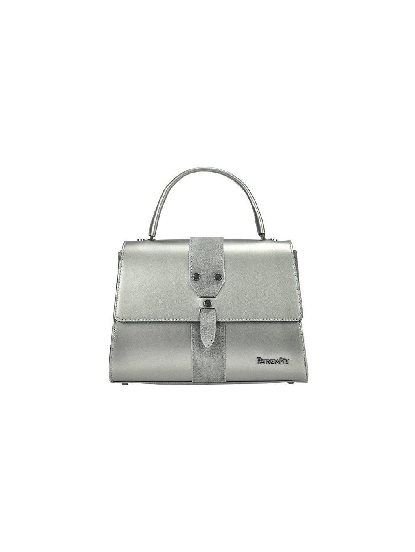 Kožená kufříková kabelka Patrizia Piu 01-037 stříbrná