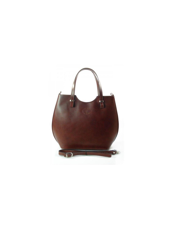 Kožená shopper bag kabelka Vera Pelle 846 hnědá