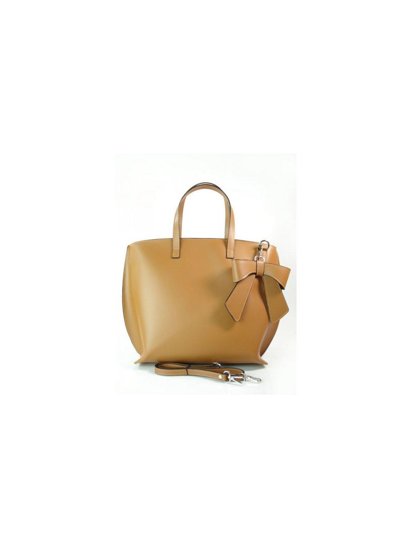 Dámská kožená kufříková kabelka Vera Pelle M03 L camel