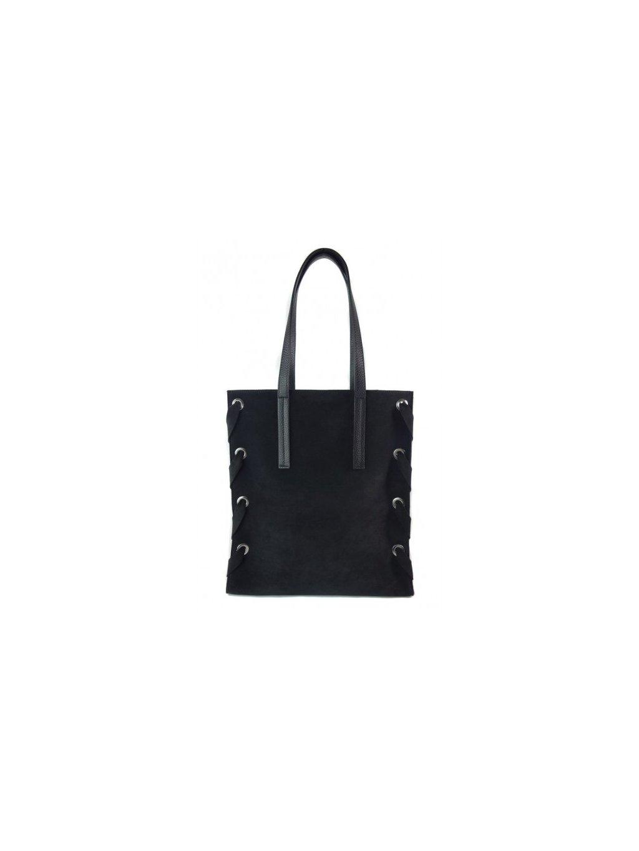 Kožená shopper bag kabelka Vera Pelle WK7 černá