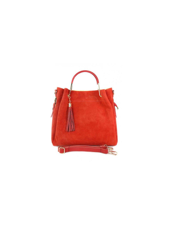 Kožená shopper bag kabelka Vera Pelle KLV55N červená