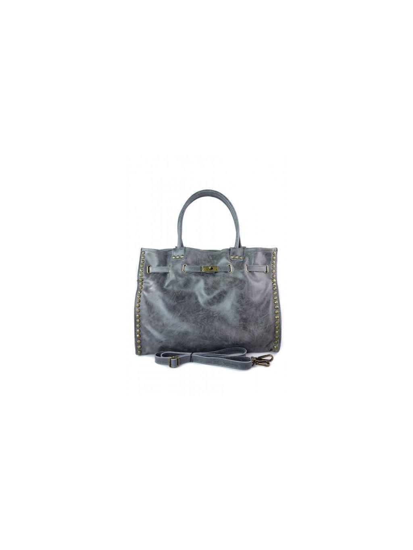 Kožená shopper bag kabelka Vera Pelle SB577 šedá
