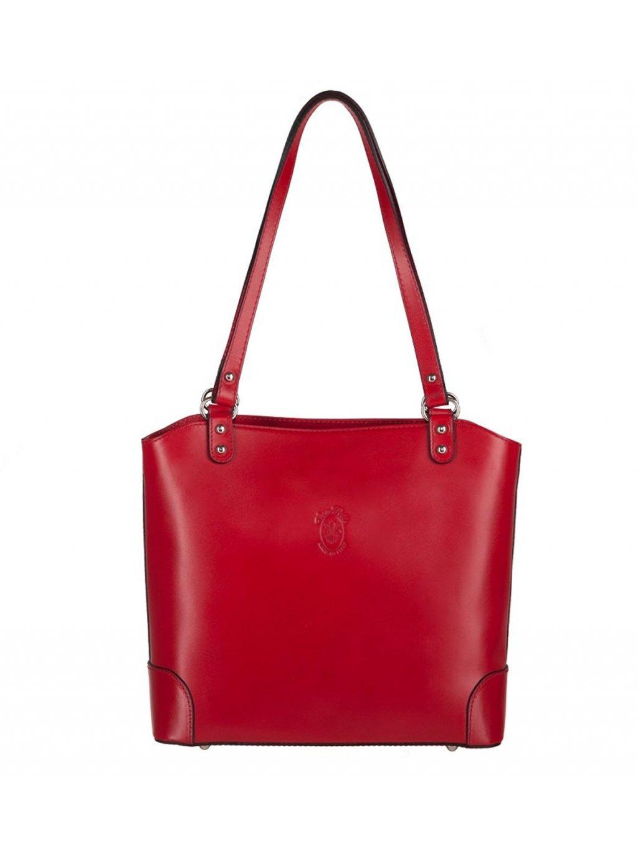 Kožená kabelka přes rameno Vera Pelle 131 červená (1)