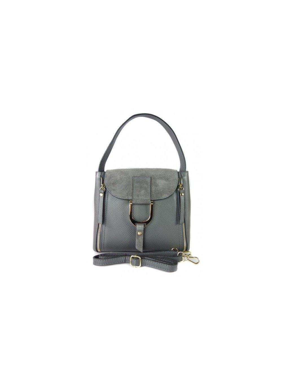 Kožená kufříková kabelka Vera Pelle K52BS šedá
