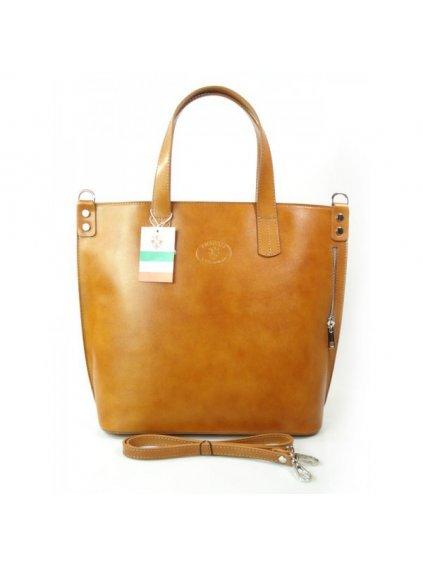 Kožená shopper bag kabelka Vera Pelle 1777 camel