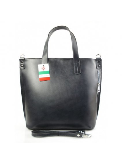 Kožená shopper bag kabelka Vera Pelle 1777 šedá