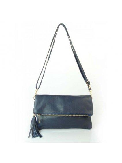 Kožená kabelka přes rameno Vera Pelle LP111 tmavě modrá