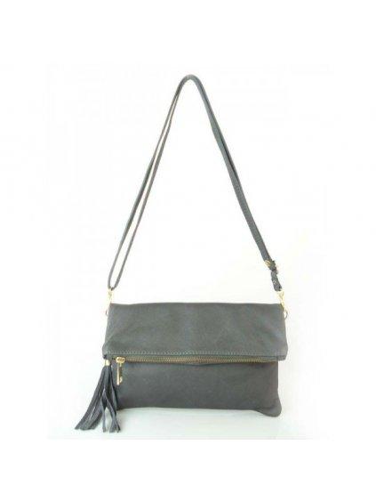 Kožená kabelka přes rameno Vera Pelle LP111 šedá