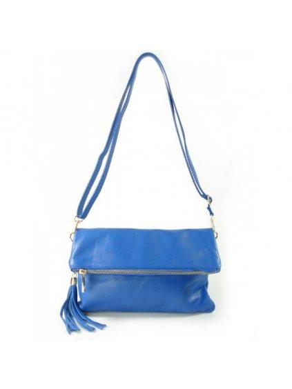 Kožená kabelka přes rameno Vera Pelle LP111 modrá