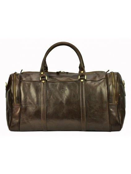 Cestovní kožená taška Gregorio 131/429 tmavě hnědá