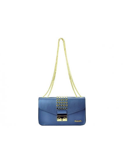 Kožená kabelka přes rameno Patrizia Piu 02-002 modrá