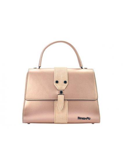 Kožená kufříková kabelka Patrizia Piu 01-037 růžová metalická