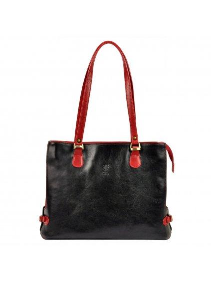 Kožená kabelka přes rameno Florence 14 černá / červená