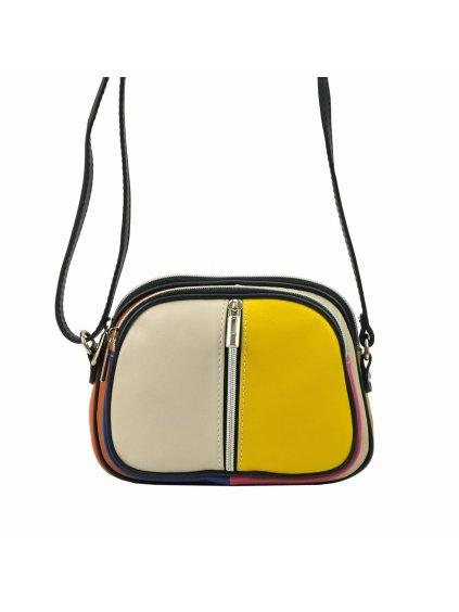 Kožená crossbody kabelka Alice MULTI béžová / žlutá