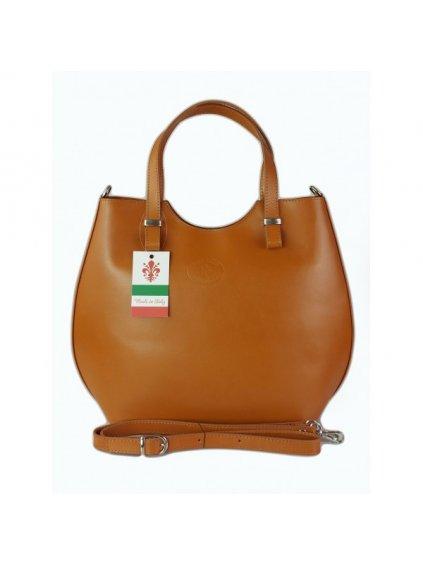 Kožená shopper bag kabelka Vera Pelle 846 camel