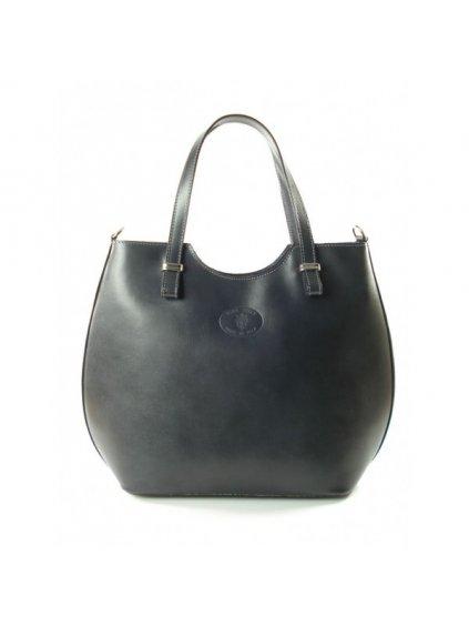Kožená shopper bag kabelka Vera Pelle 846 šedá
