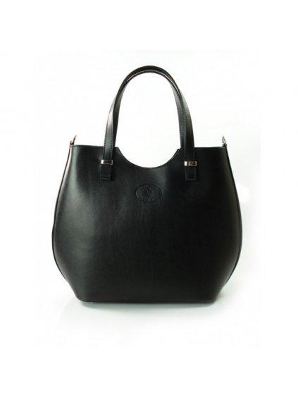 Kožená shopper bag kabelka Vera Pelle 846 čermá