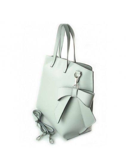 Dámská kožená kufříková kabelka Vera Pelle M03 L světle šedá