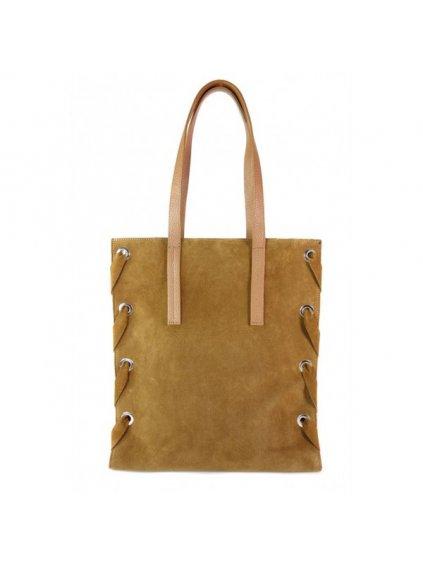 Kožená shopper bag kabelka Vera Pelle WK7 camel