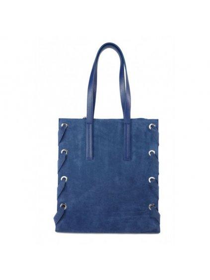 Kožená shopper bag kabelka Vera Pelle WK7 modrá