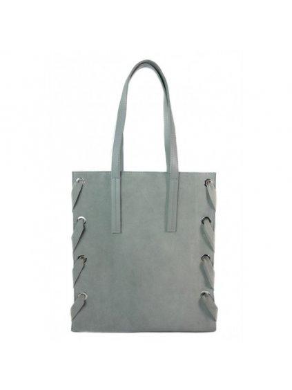 Kožená shopper bag kabelka Vera Pelle WK7 šedá