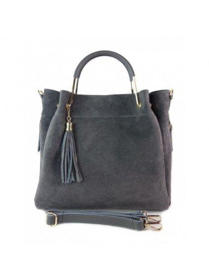 Kožená shopper bag kabelka Vera Pelle KLV55N šedá