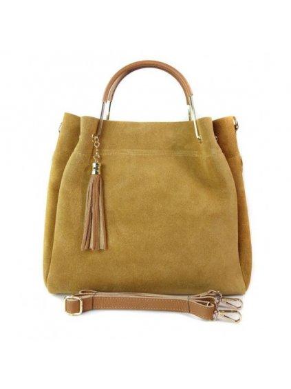 Kožená shopper bag kabelka Vera Pelle KLV55N camel